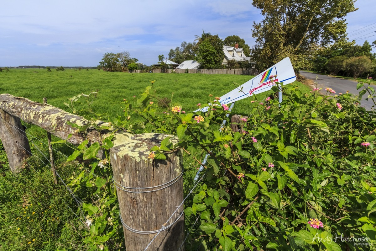 Sign blown downThe tornado made its presence felt in the small riverside village of Terrara by first taking out the town sign, twisting it from its concrete footings.